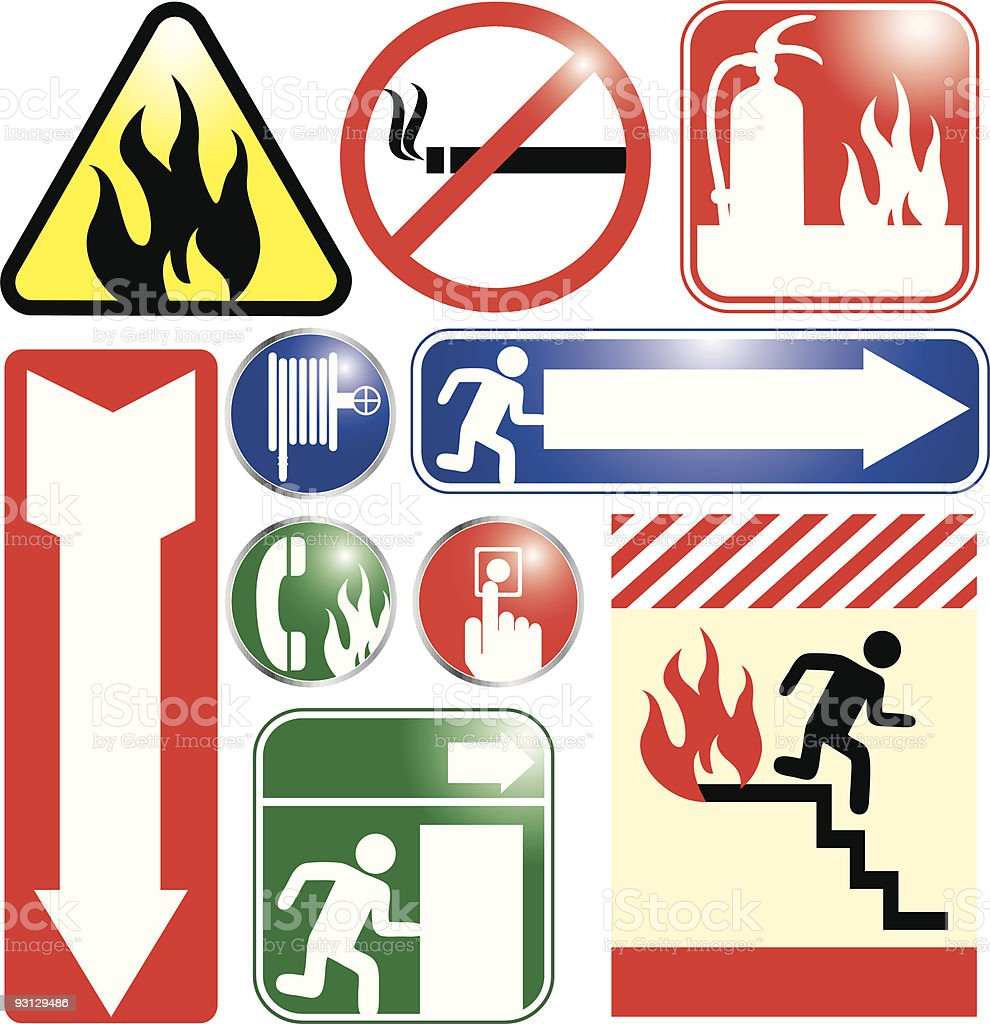 Fire and Emergency Exit Signs royalty-free stock vector art
