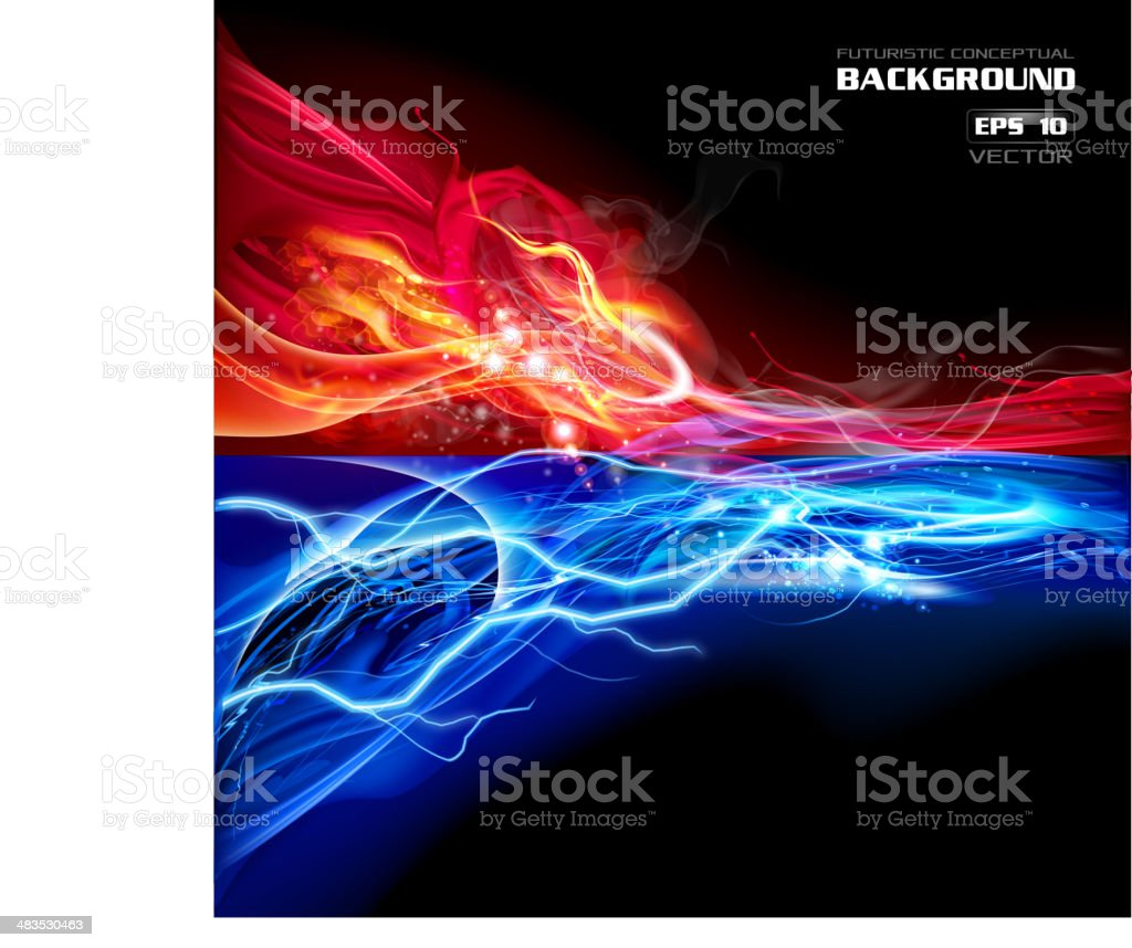 Fire and Lightning conceptual background vector art illustration