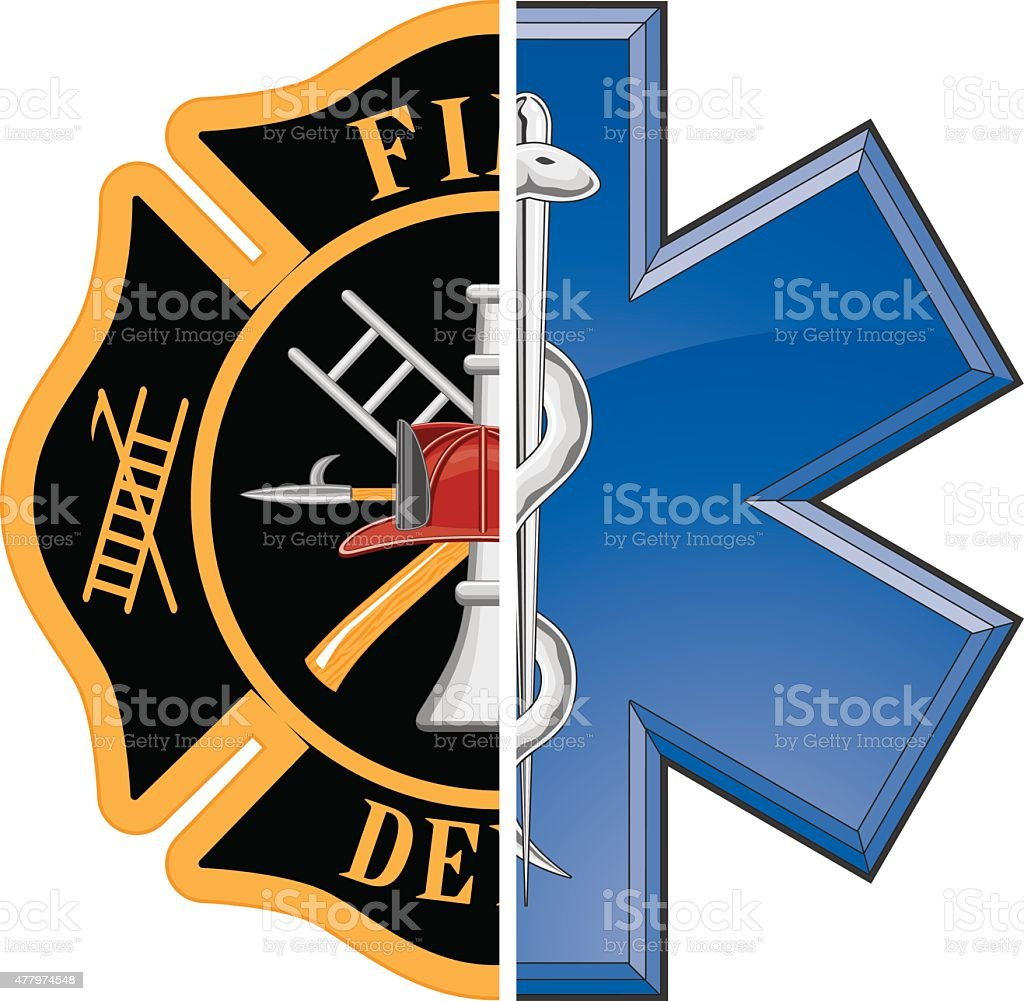 Fire and Rescue vector art illustration
