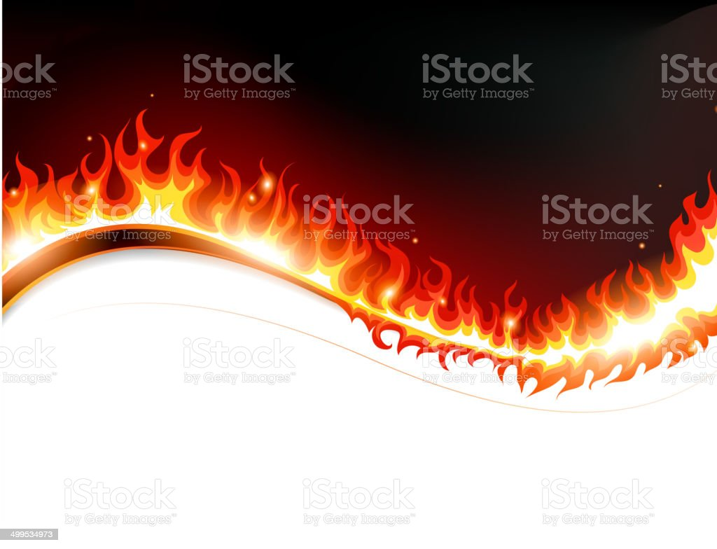 Fire and sparks vector art illustration