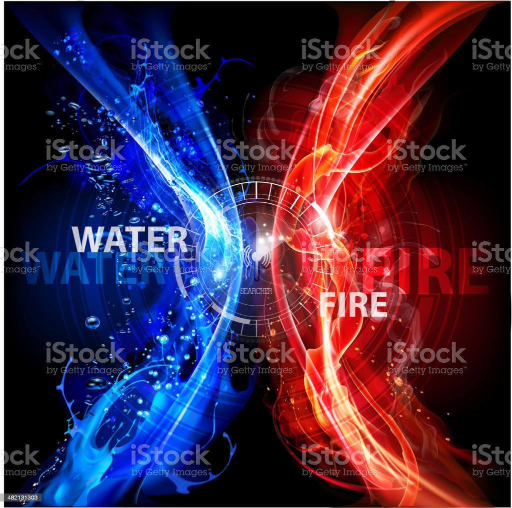 Fire and water abstract background royalty-free stock vector art