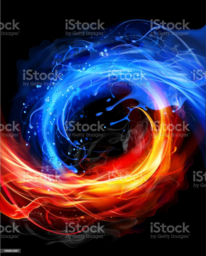 Fire and water concept vector art illustration