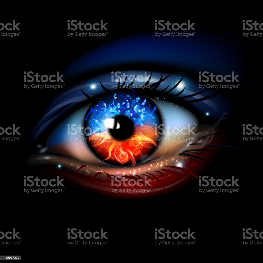 Fire and Water eye vector art illustration