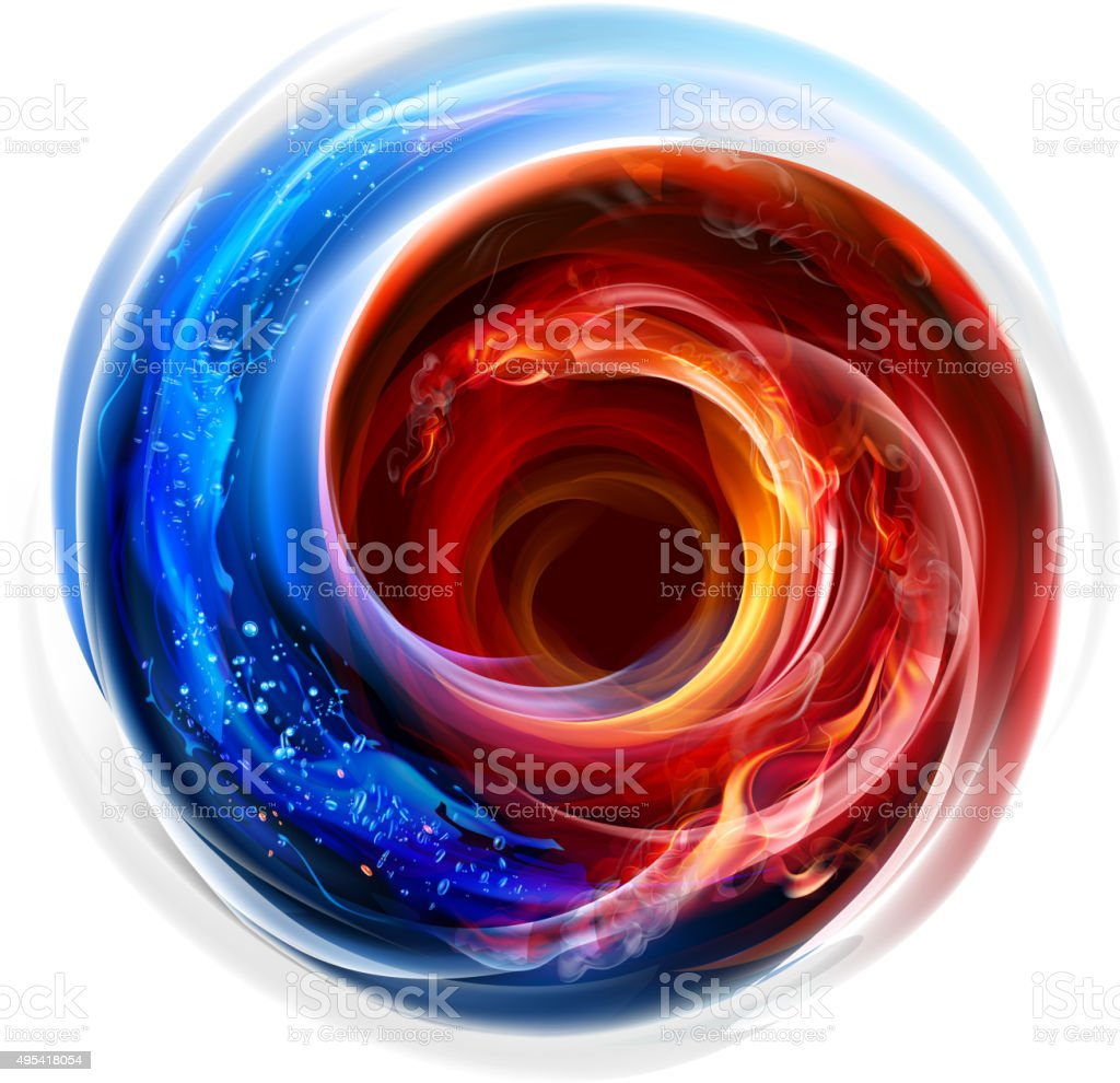 Fire and water swirl background vector art illustration