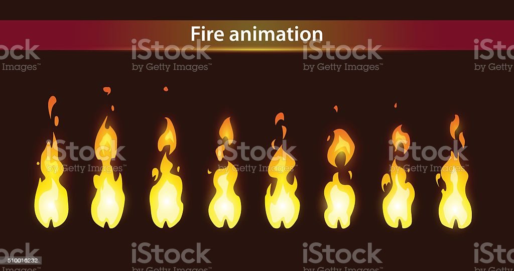 Fire animation sprites vector art illustration