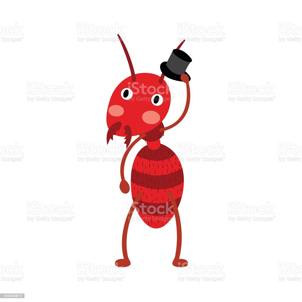 Fire ant with black hat cartoon character. vector art illustration