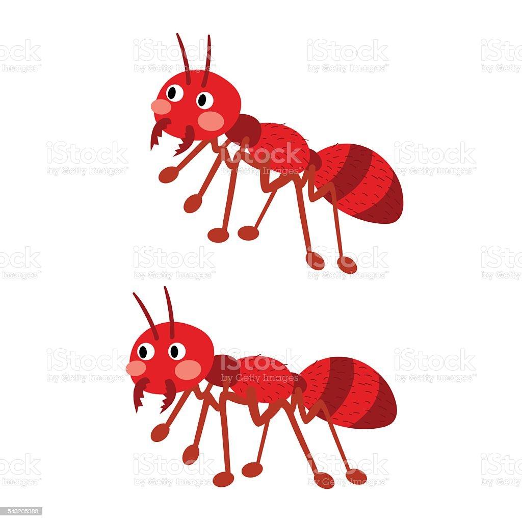 Fire ants cartoon character. vector art illustration