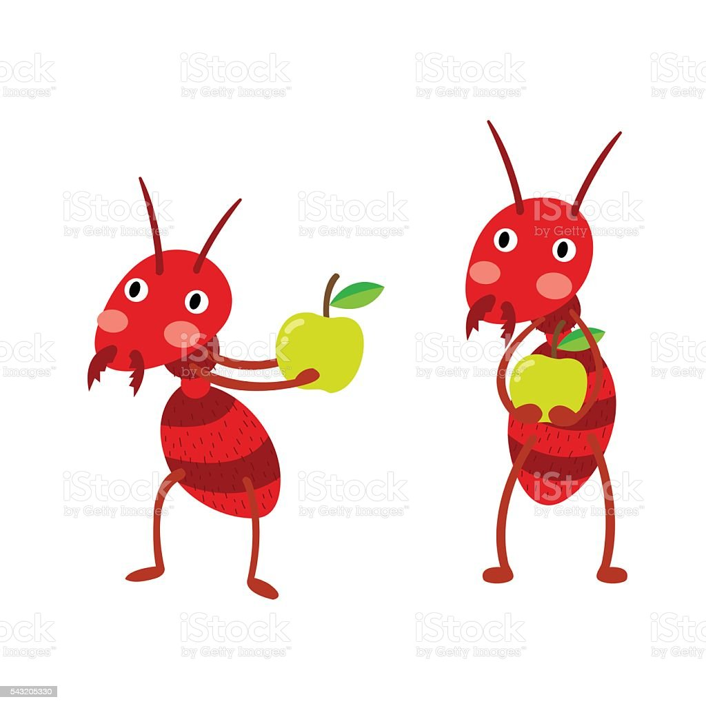 Fire ants with green apples cartoon character. vector art illustration