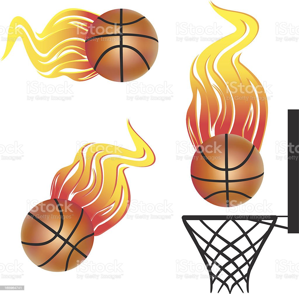 Fire Basketball royalty-free stock vector art