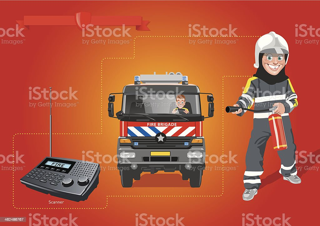 fire brigade education vector art illustration