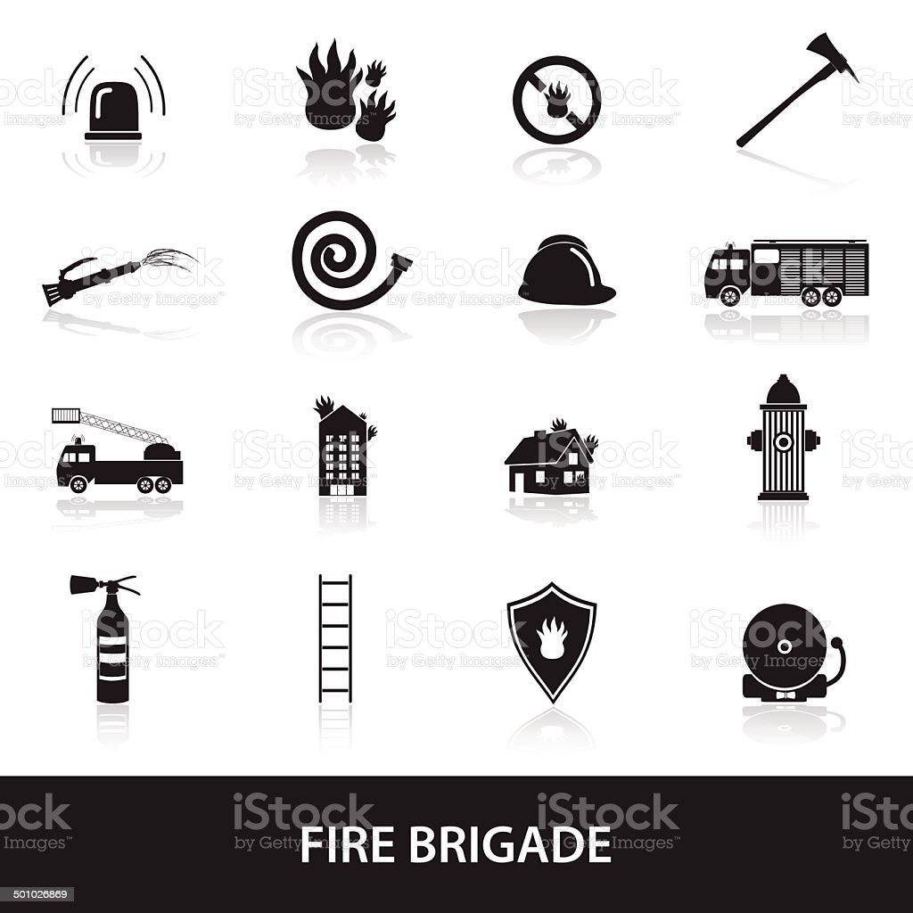 fire brigade icons set eps10 vector art illustration
