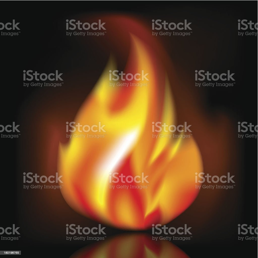 Fire, bright flame on dark background royalty-free stock vector art