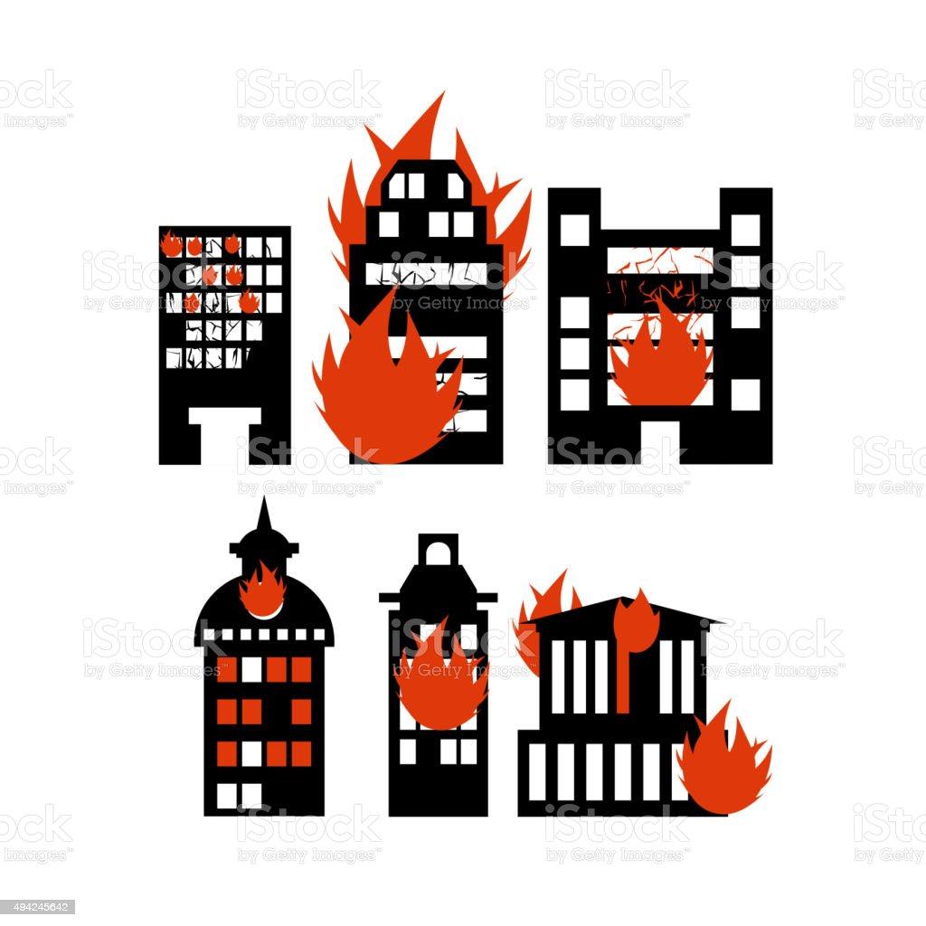 Fire  building. Set of icons lit city buildings. Emergency incid vector art illustration