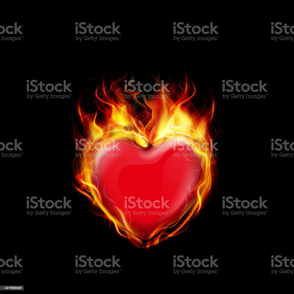 Fire burning a heart on black background vector art illustration