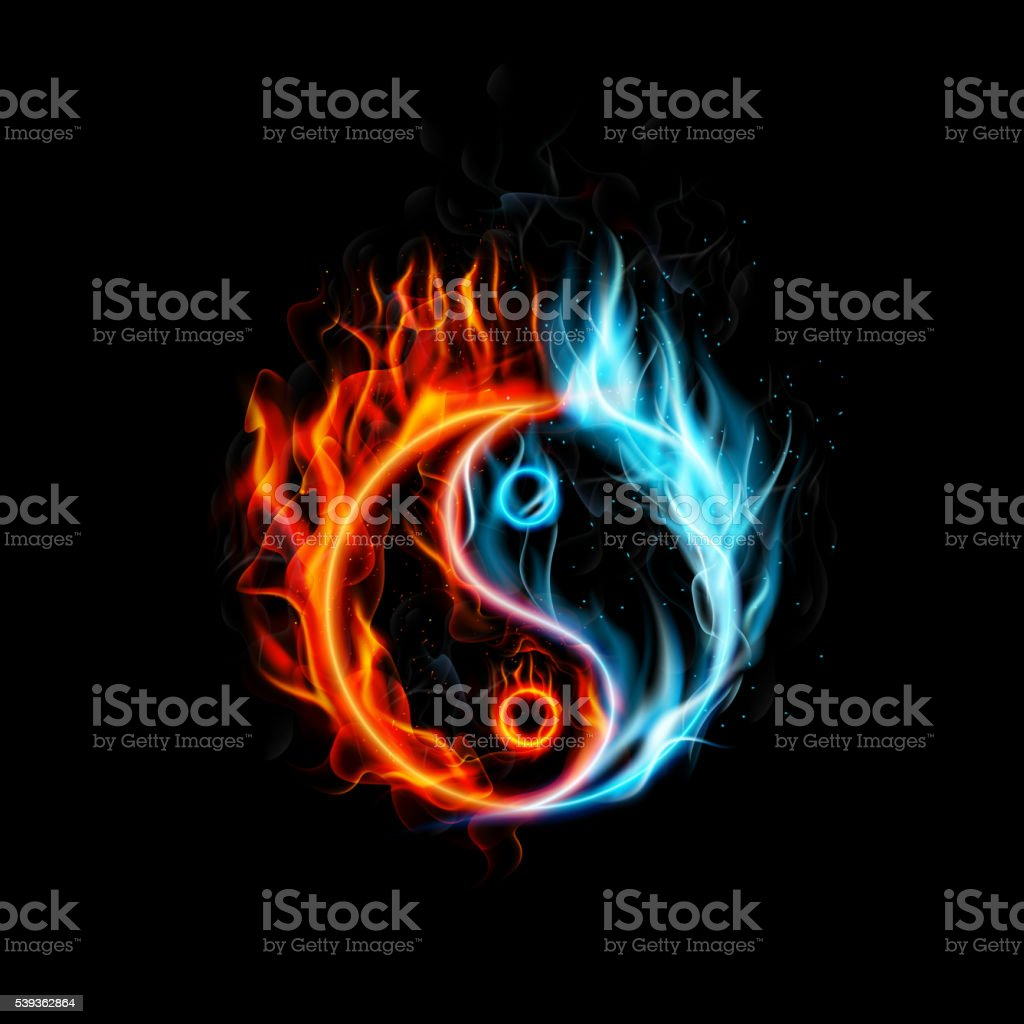 Fire burning Yin Yang with black background vector art illustration