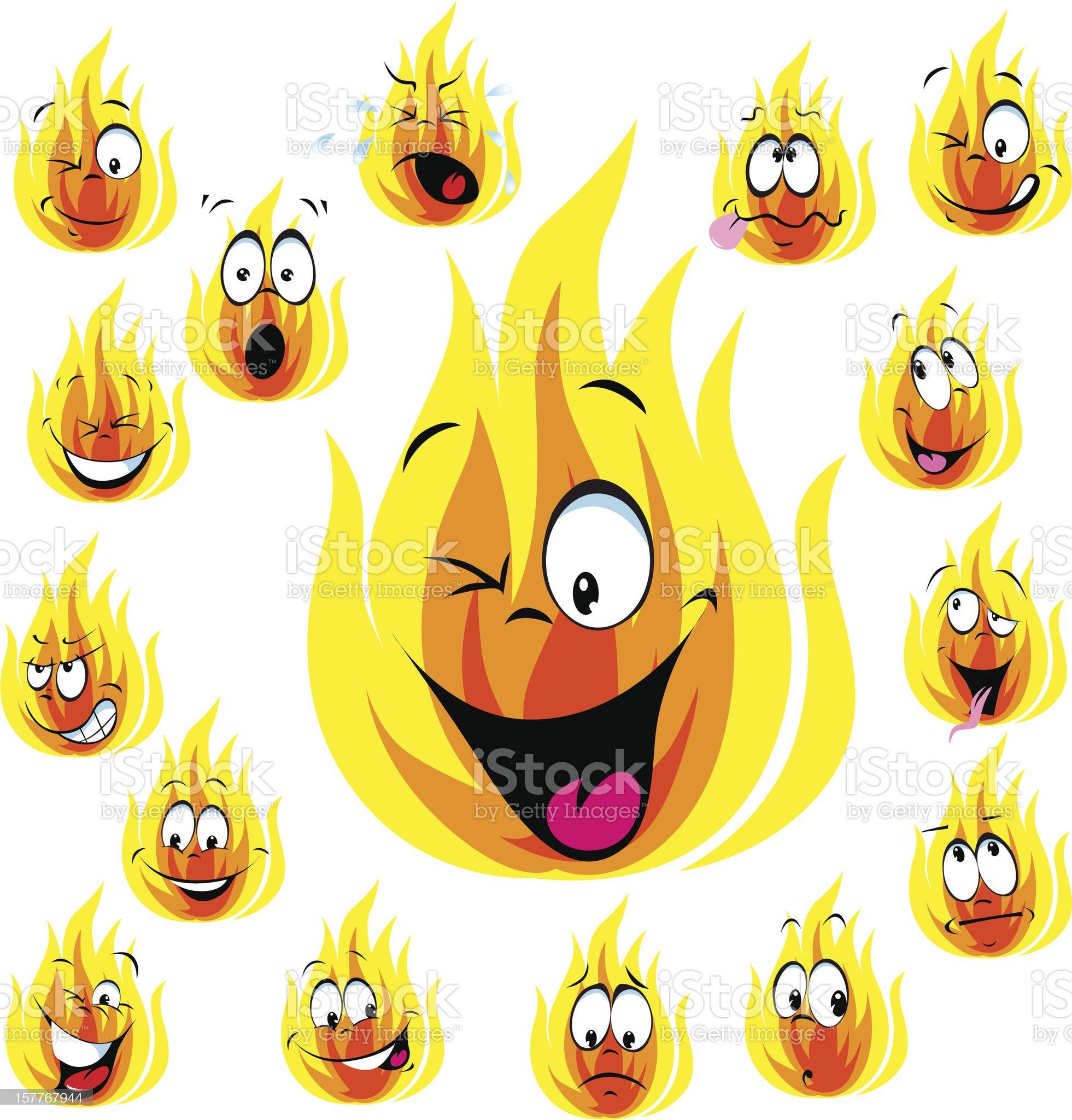 fire cartoon with many expressions royalty-free stock vector art