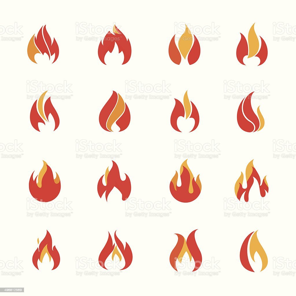 Fire color icons vector art illustration