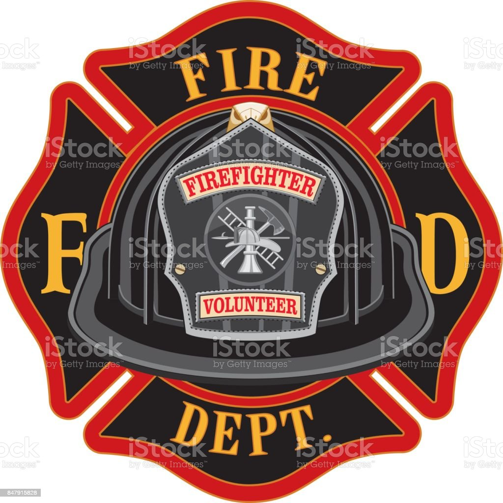 Fire Department Cross Volunteer Black Helmet vector art illustration