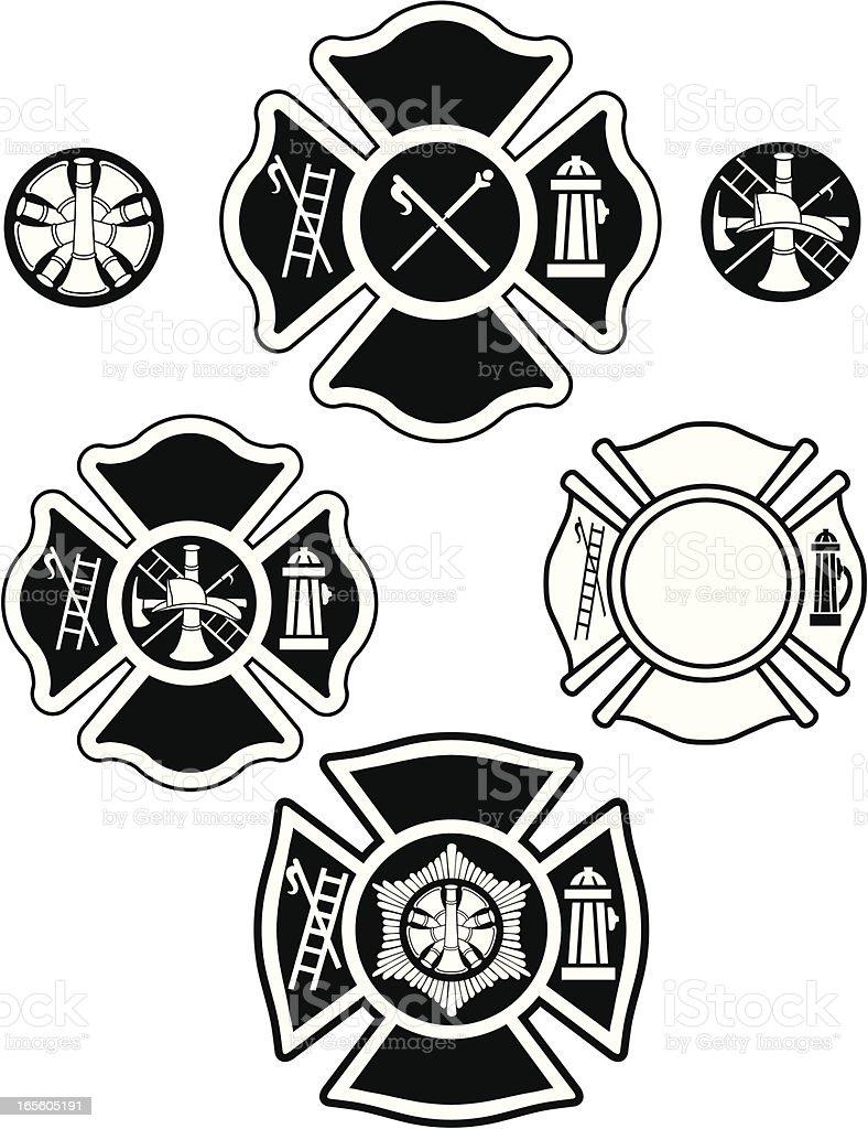 fire department emblems vector art illustration