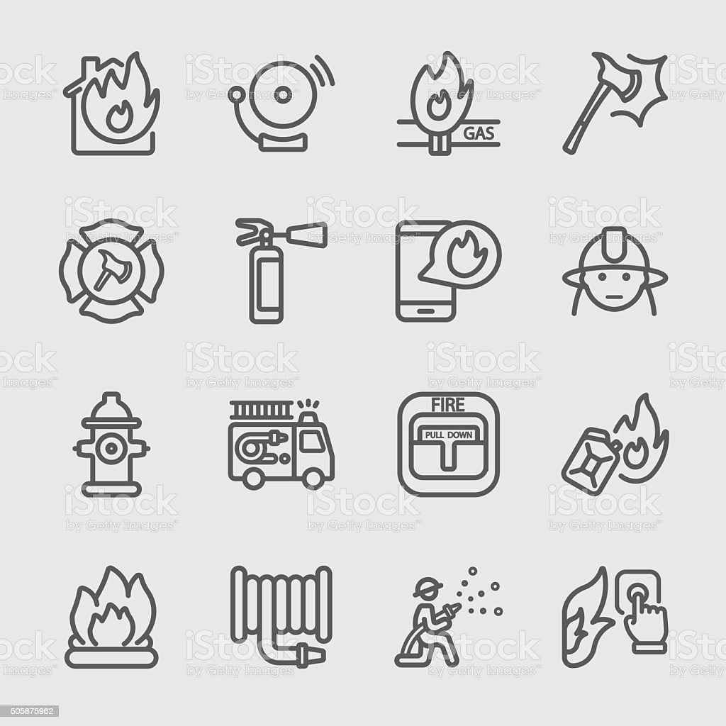 Fire department line icon vector art illustration