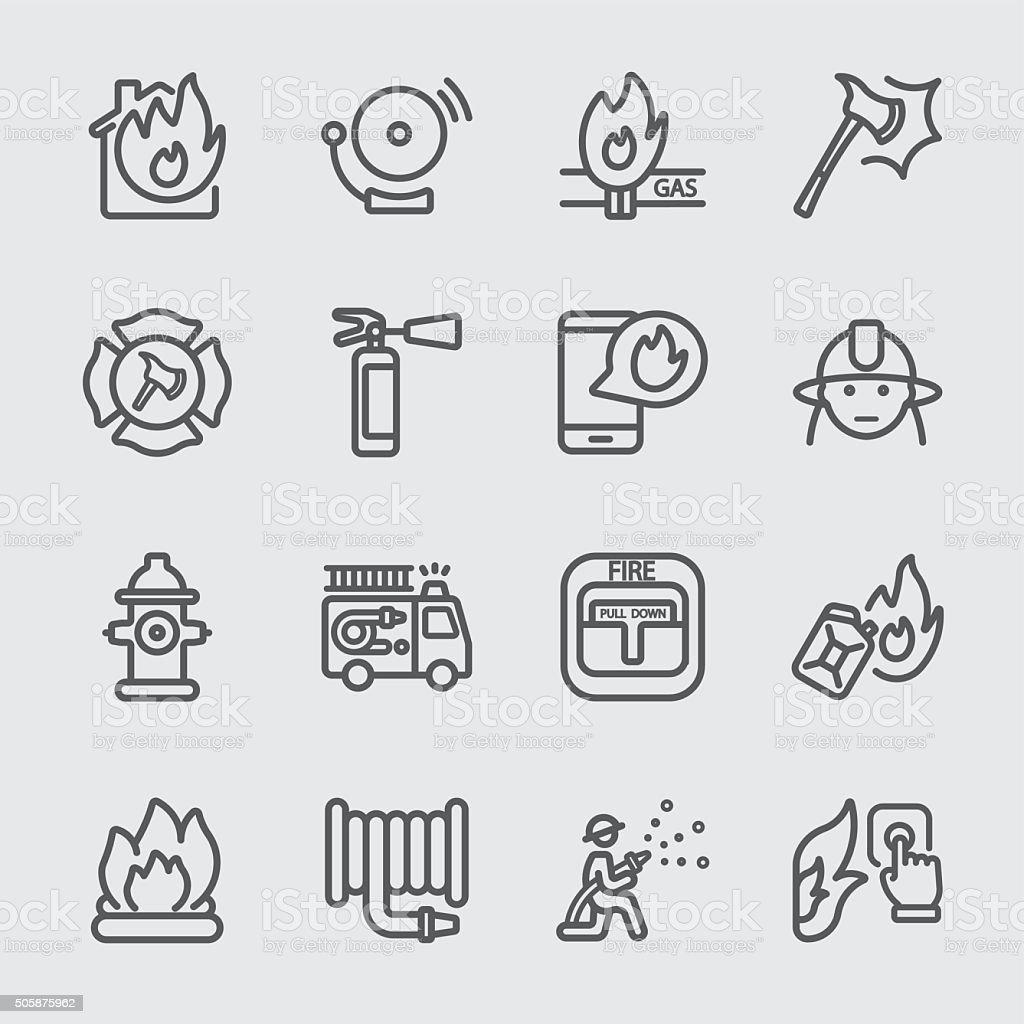 Fire department line icon vector art illustration