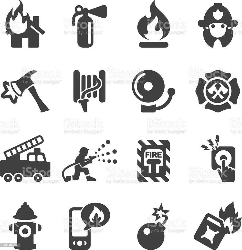 Fire Department Silhouette Icons | EPS10 vector art illustration
