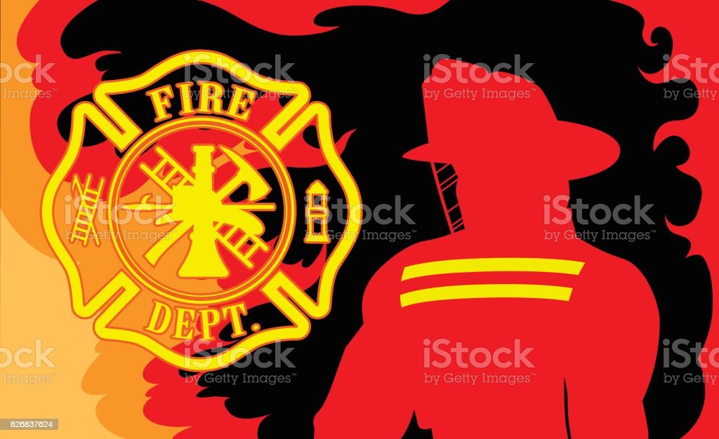 Fire Department With Fireman vector art illustration