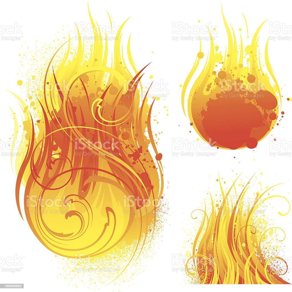 Fire designs vector art illustration
