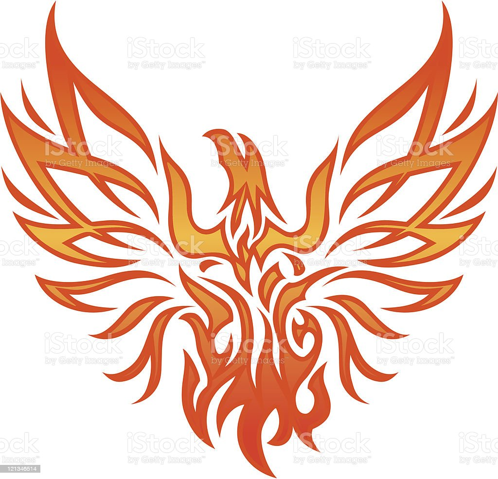 Fire Eagle Tattoo royalty-free stock vector art
