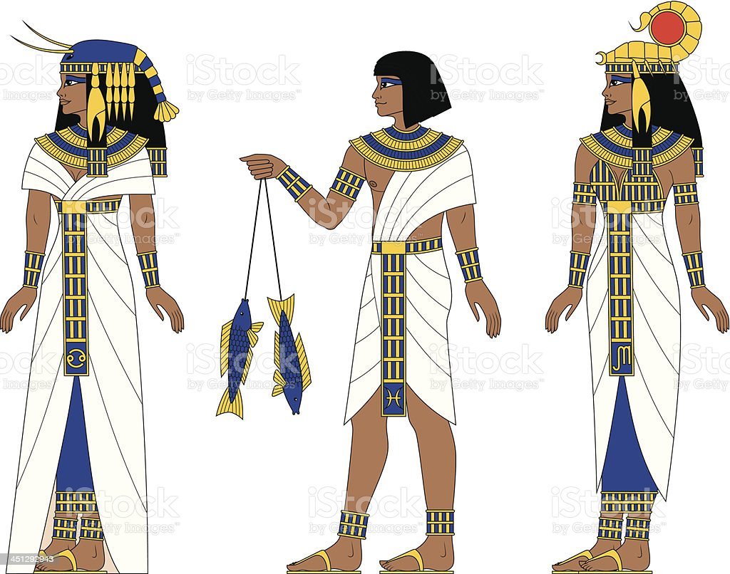Fire Egyptian Zodiac: Cancer, Pisces, Scorpio royalty-free stock vector art