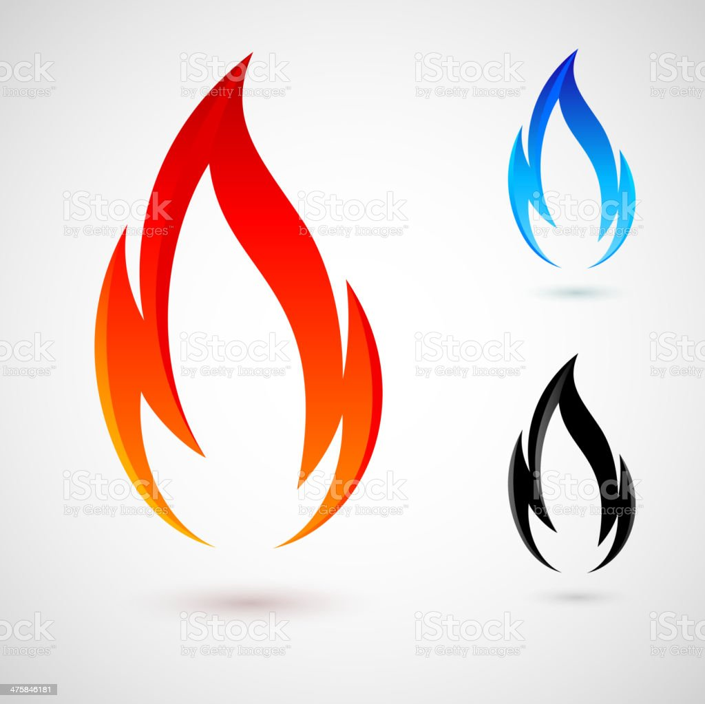 Fire elements vector art illustration
