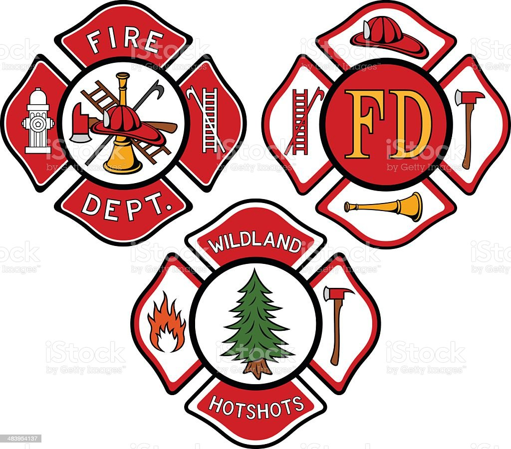 Fire Emblems vector art illustration