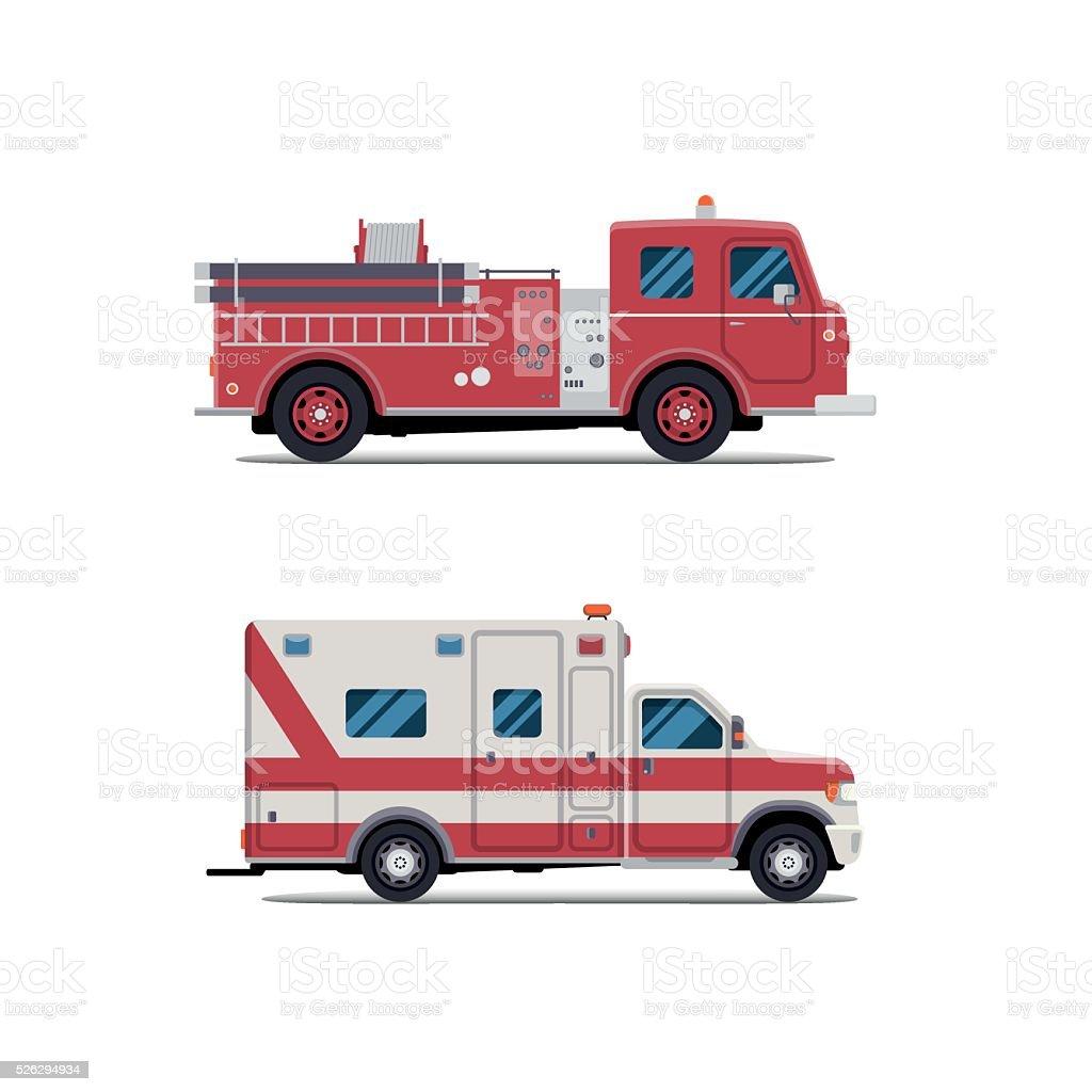 fire engine, ambulance, Firetruck vector art illustration