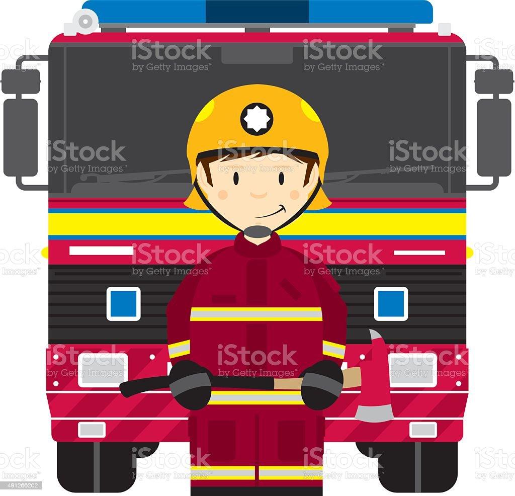 UK Fire Engine Fireman vector art illustration
