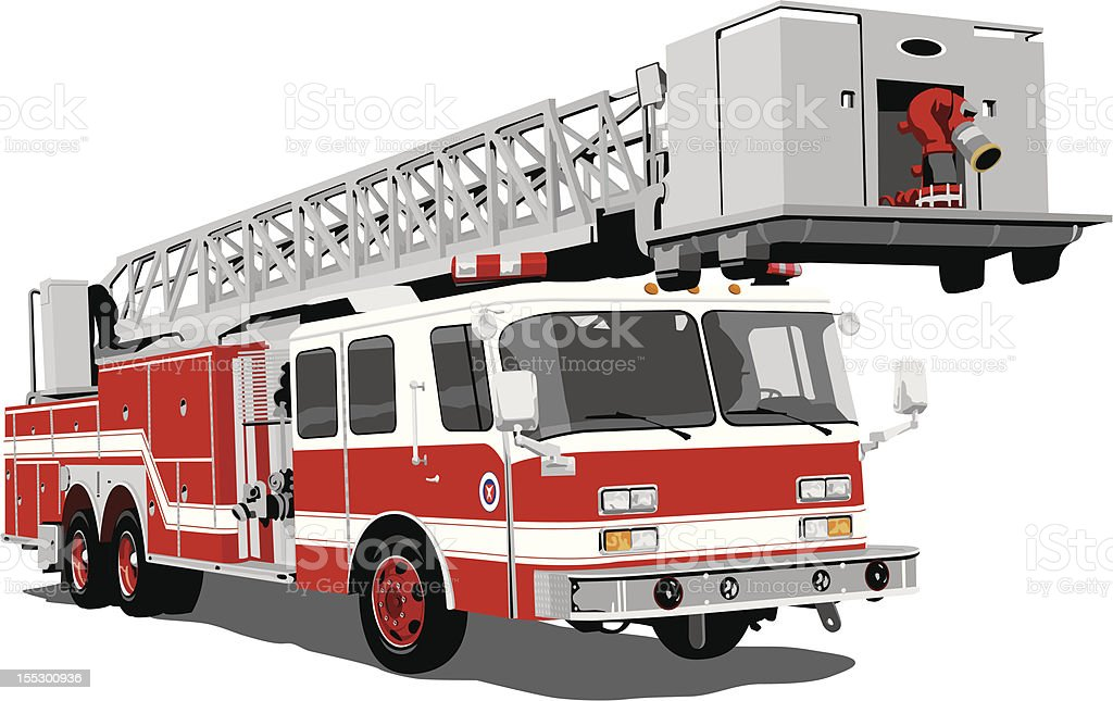 Fire engine ladder vector art illustration