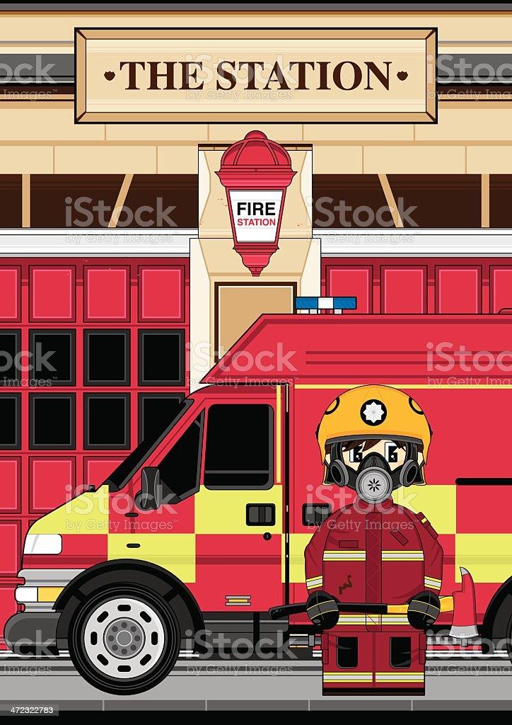 Fire Engine Truck & Fireman vector art illustration