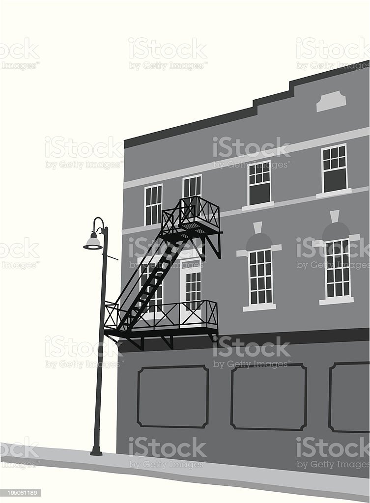 Fire Escape Stairs Vector Silhouette royalty-free stock vector art
