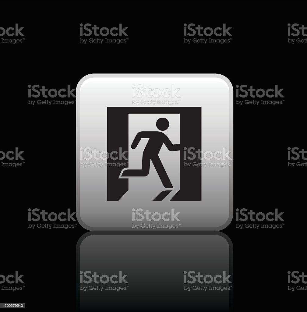 Fire exit button icon vector art illustration