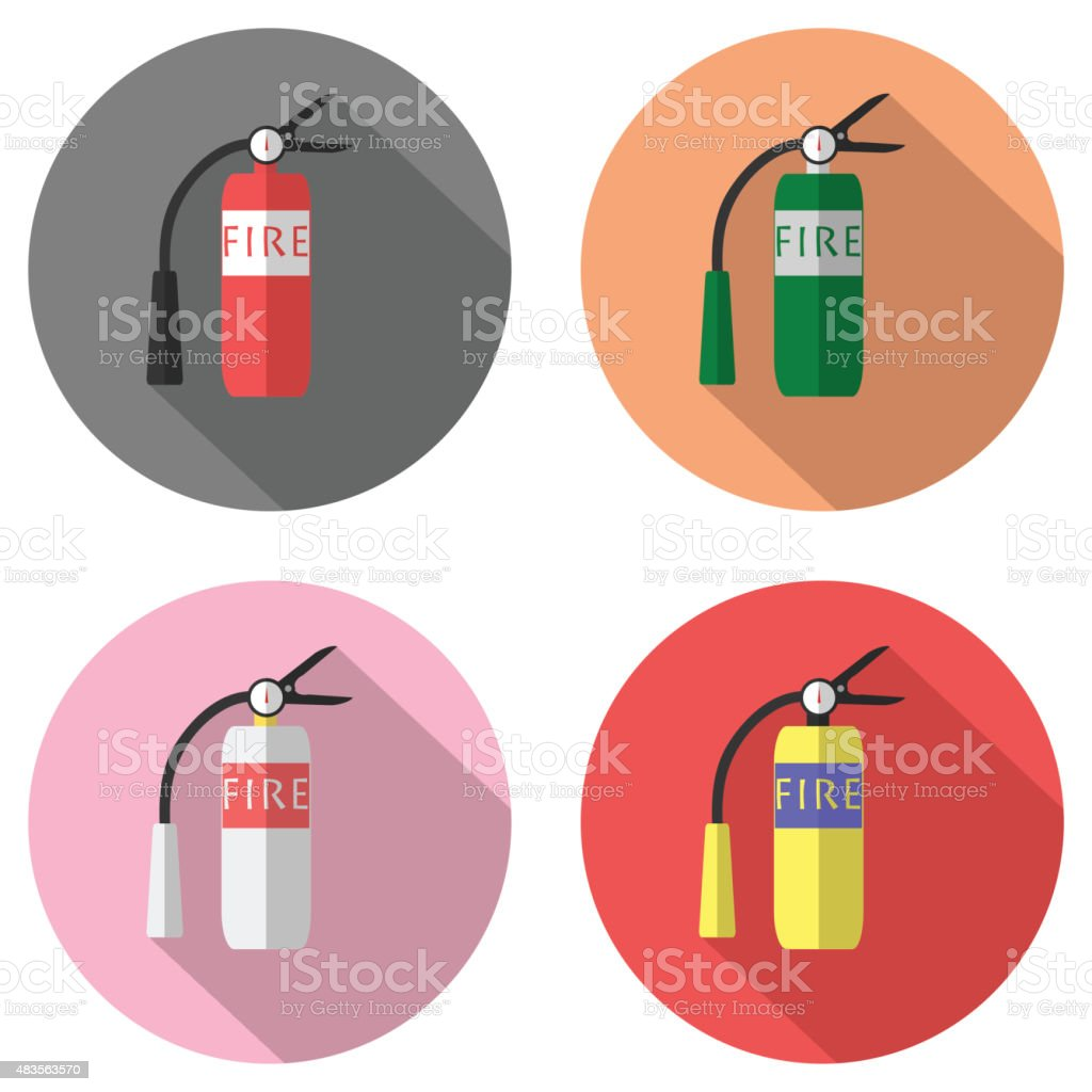 Fire extinguisher flat design icon with long shadow vector art illustration