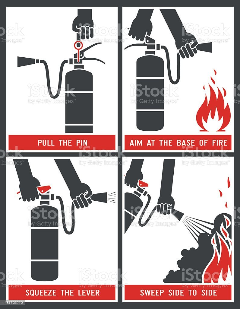 Fire extinguisher label. vector art illustration