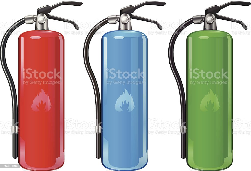 Fire extinguishers vector art illustration