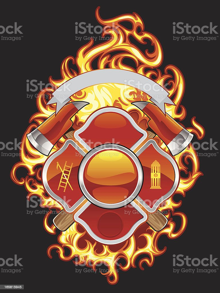 fire fighter cross and flames royalty-free stock vector art