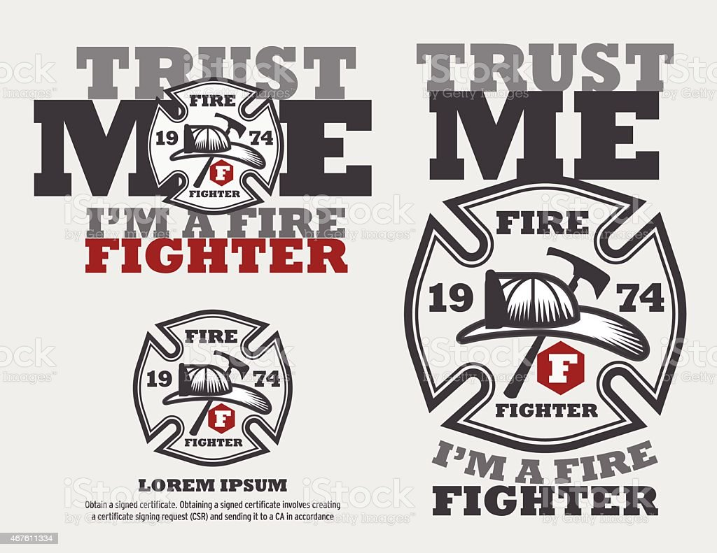 Design t shirt logo free - Fire Fighter Logo Design Vector Template And Typrograpic Design T Shirt Royalty Free Stock