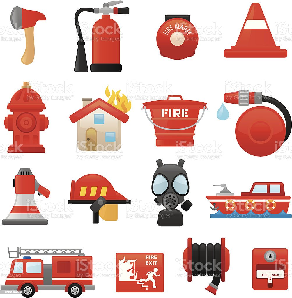 Fire fighting icons | smoso series vector art illustration