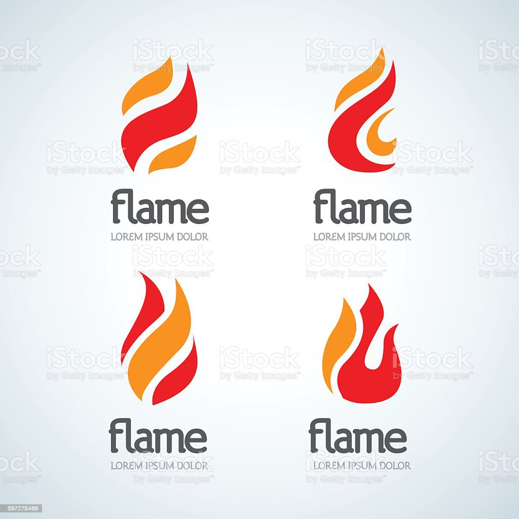 Fire Flame emblems design vector template drop silhouette set vector art illustration