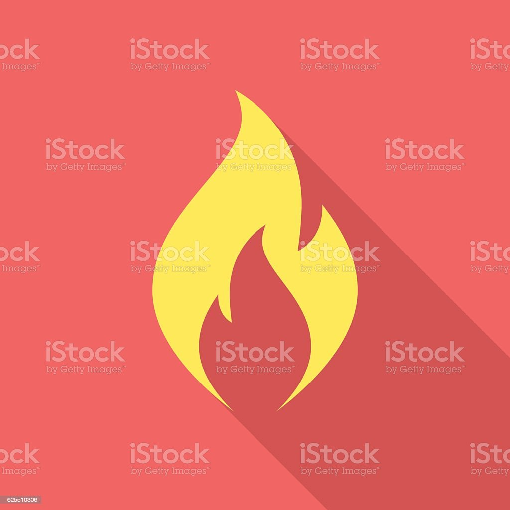 Fire flame icon with long shadow. vector art illustration