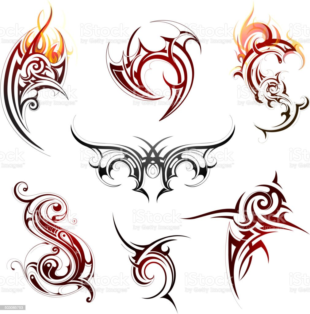 Fire flame tattoo vector art illustration