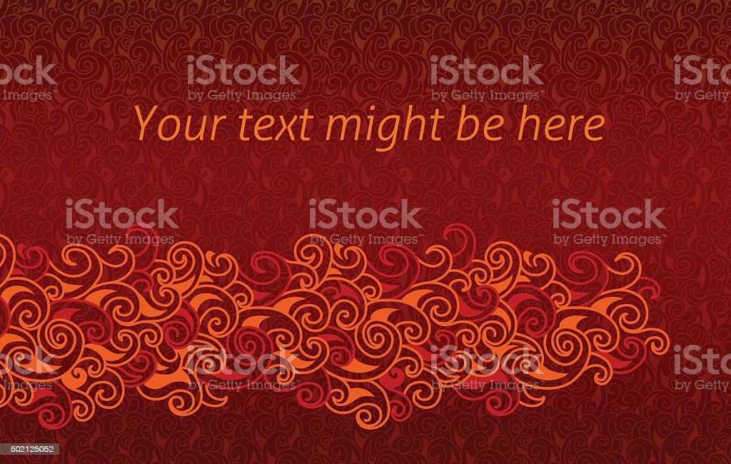 Fire flames banner with space for text on red background vector art illustration