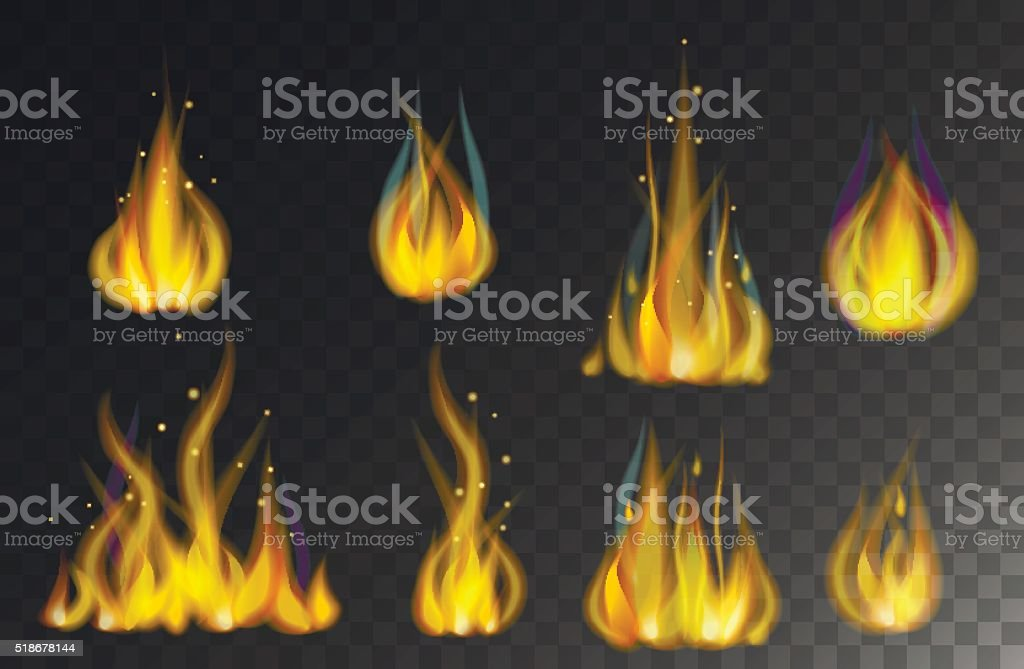 Fire flames collection isolated on black background vector vector art illustration