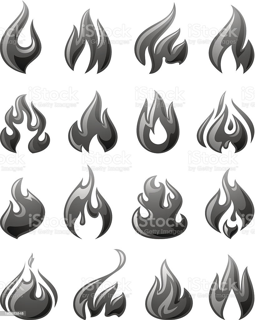 Fire flames, set 3d gray icons royalty-free stock vector art